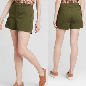 A New Day Olive Green Chino Stretch Shorts NWT